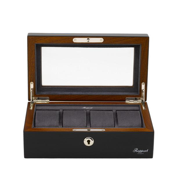 Rapport Optic Quad Black Watch Box L414 - Hamilton & Lewis Jewellery