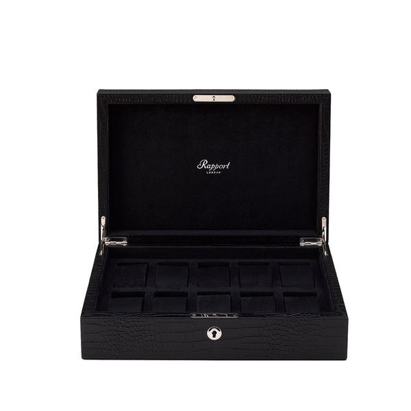 Rapport Brompton Black 10 Watch Box L264 - Hamilton & Lewis Jewellery