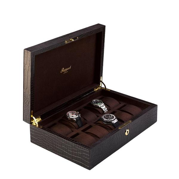 Rapport Brompton Brown 10 Watch Box L265 - Hamilton & Lewis Jewellery