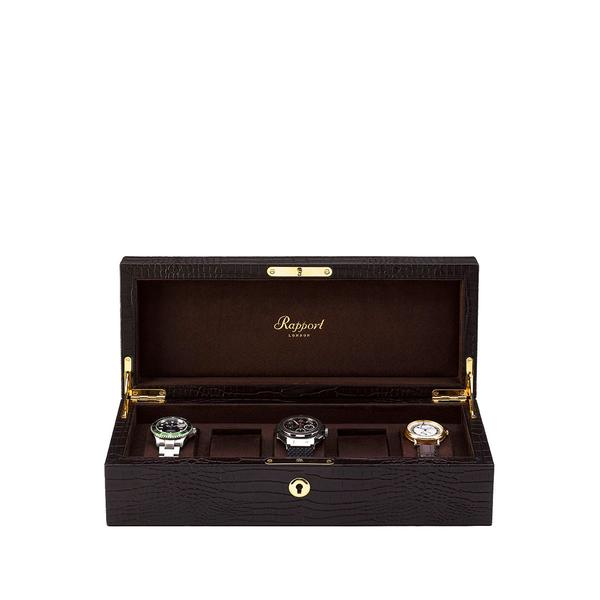 Rapport Brompton Brown Five Watch Box L263 - Hamilton & Lewis Jewellery