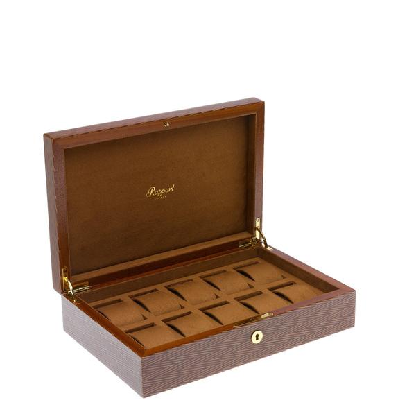 Rapport Heritage Herringbone 10 Watch Box L411 - Hamilton & Lewis Jewellery
