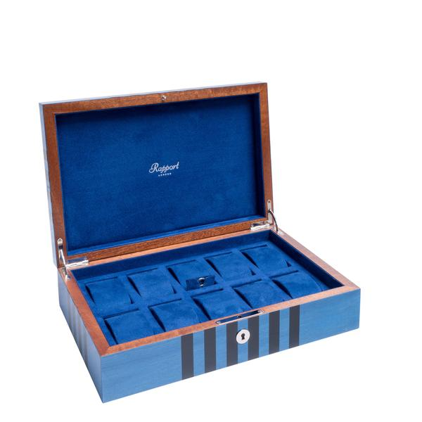 Rapport Labyrinth Blue 10 Watch Box L440 - Hamilton & Lewis Jewellery