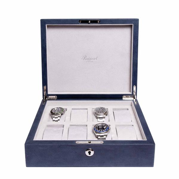 Rapport Vintage Blue 8 Watch Box L430 - Hamilton & Lewis Jewellery