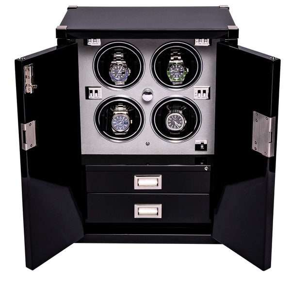 Rapport Quad Black Mariners Chest Watch Winder W294