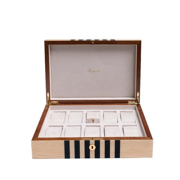 Rapport Labyrinth White 10 Watch Box L443 - Hamilton & Lewis Jewellery