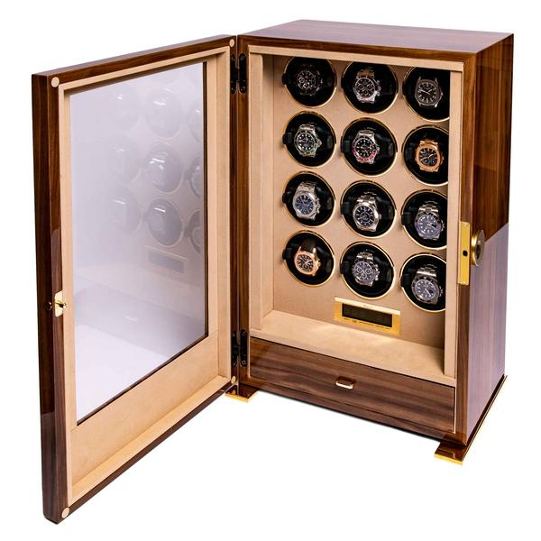 Rapport Paramount Walnut 12 Piece Watch Winder W312 - Hamilton & Lewis Jewellery