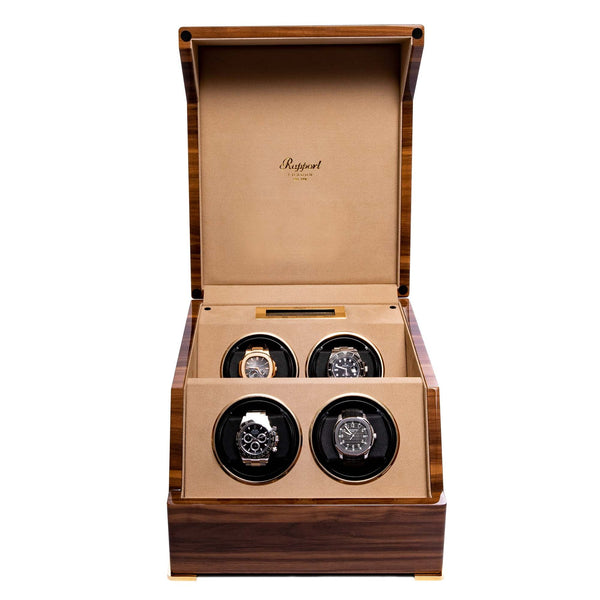 Rapport Perpetua III Walnut Quad Watch Winder W584
