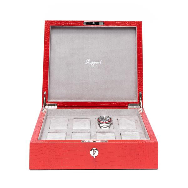 Rapport Brompton Red 8 Watch Box L267 - Hamilton & Lewis Jewellery