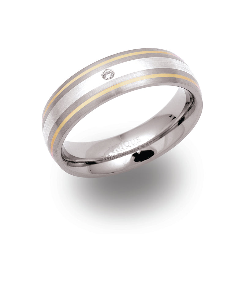 Unique & Co Titanium/Gold Ring TR51 - Hamilton & Lewis Jewellery