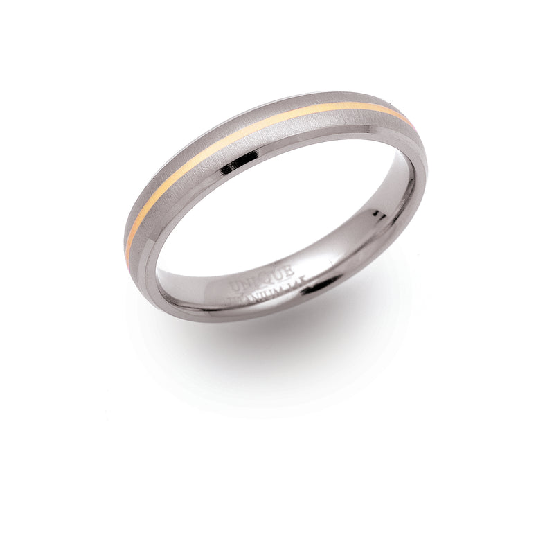 Unique & Co Titanium/Gold Ring TR54 - Hamilton & Lewis Jewellery
