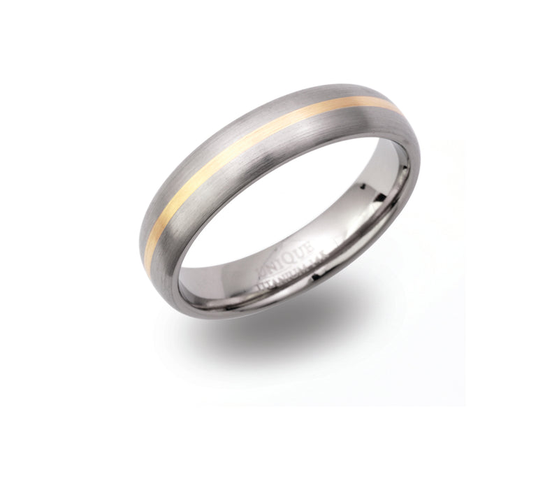 Unique & Co Titanium/Gold Ring TR92 - Hamilton & Lewis Jewellery