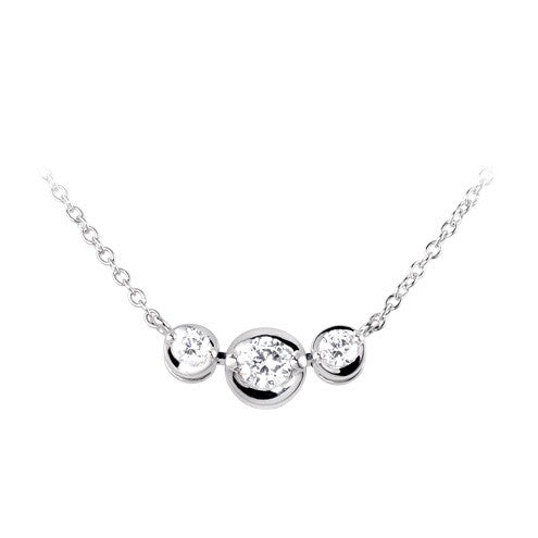 Three stone, East-west necklace 0.53ct - Hamilton & Lewis Jewellery