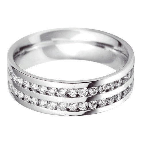 Flat Court Double Row Wedding Ring - Hamilton & Lewis Jewellery