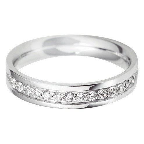 4mm Flat Court Grain Set Wedding Ring - Hamilton & Lewis Jewellery