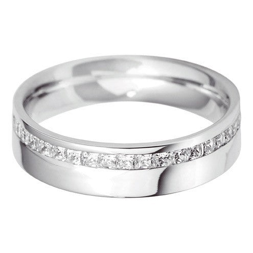 5mm Flat Court Offset Wedding Ring - Hamilton & Lewis Jewellery