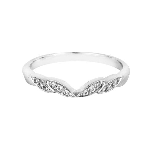 Vine inspired diamond set shaped wedding ring - Hamilton & Lewis Jewellery