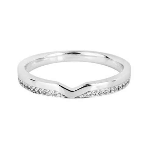 'V' Cut Shaped Wedding Ring (0.08ct) - Hamilton & Lewis Jewellery