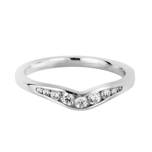 Channel set angular shaped wedding ring - Hamilton & Lewis Jewellery