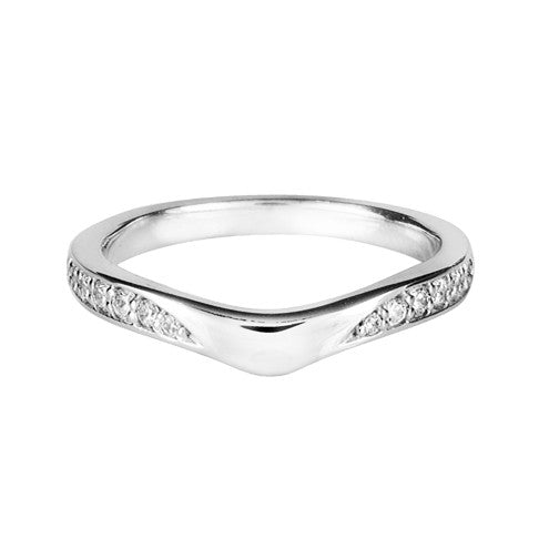 Wave shaped wedding ring with diamond set shoulders - Hamilton & Lewis Jewellery