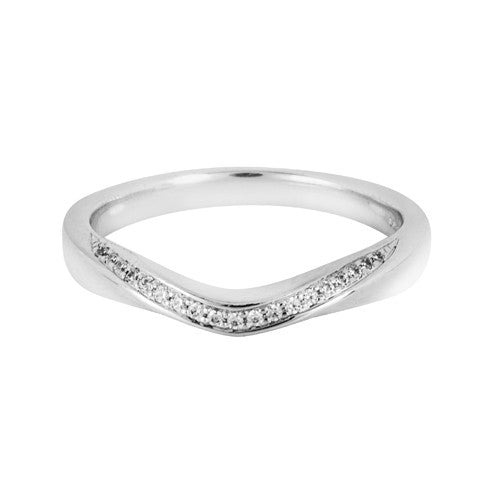 Curve stone set wedding ring - Hamilton & Lewis Jewellery