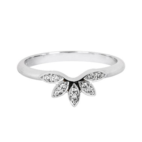 Floral diamond set shaped wedding ring - Hamilton & Lewis Jewellery