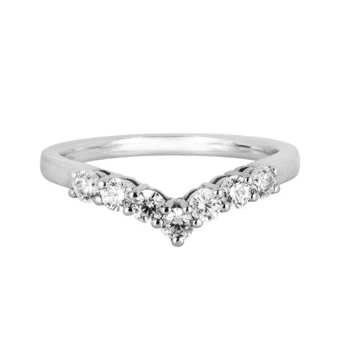 Claw set wishbone wedding ring (0.42ct) - Hamilton & Lewis Jewellery