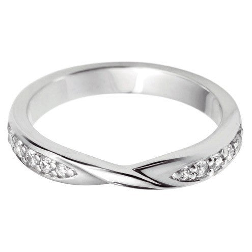 Ribbon twist grain set shaped wedding ring. - Hamilton & Lewis Wedding Jewellery