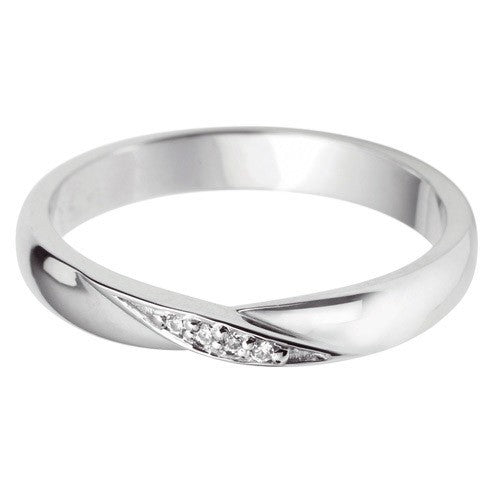 Twist centre grain set shaped wedding ring. - Hamilton & Lewis Jewellery