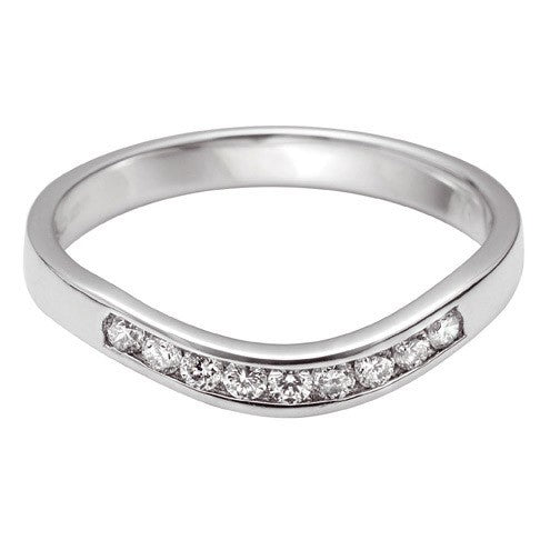 Channel Set Wave Shaped Wedding Ring - Hamilton & Lewis Jewellery