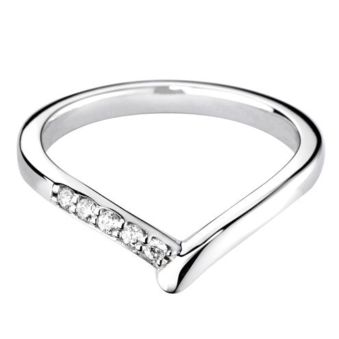 Wishbone Diamond Set Shaped Wedding Ring - Hamilton & Lewis Jewellery