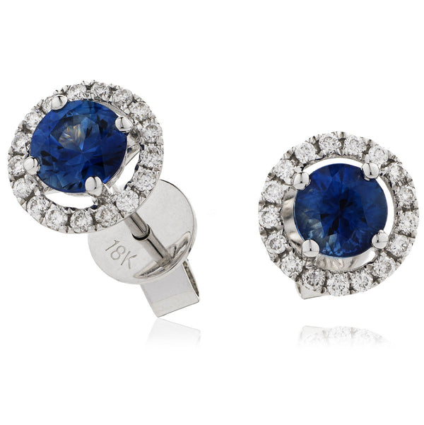 Diamond & Blue Sapphire Earrings 1.20ct - Hamilton & Lewis Jewellery