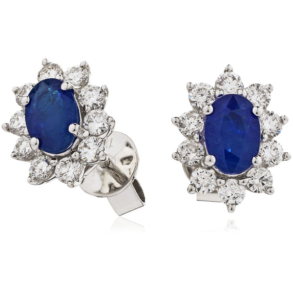 Diamond & Blue Sapphire Earring Set 1.60ct - 3.20ct - Hamilton & Lewis Jewellery