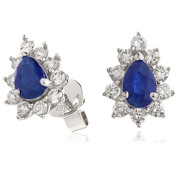 Diamond & Blue Sapphire Pear Shaped Earrings 1.30ct - Hamilton & Lewis Jewellery