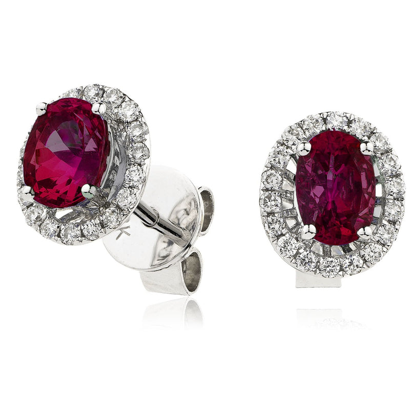 Diamond & Ruby Earrings 0.90ct - Hamilton & Lewis Jewellery