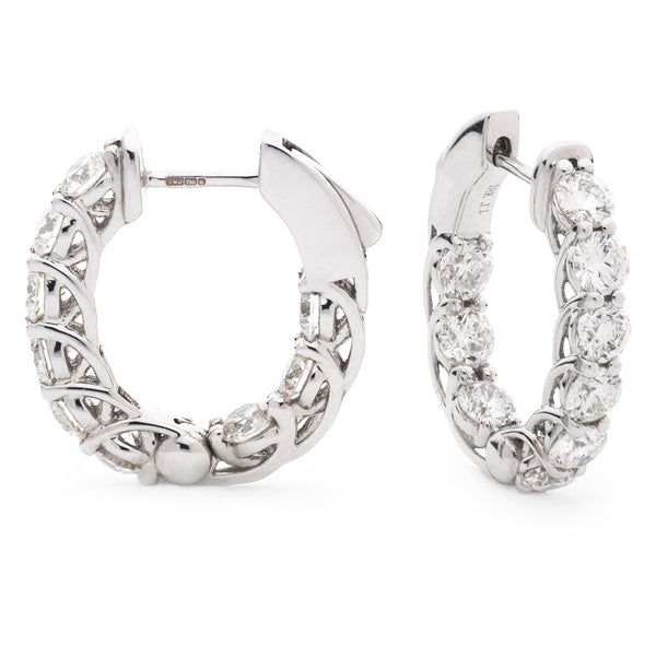 Diamond Hoop Earring Set 2.00ct - 3.00ct - Hamilton & Lewis Jewellery