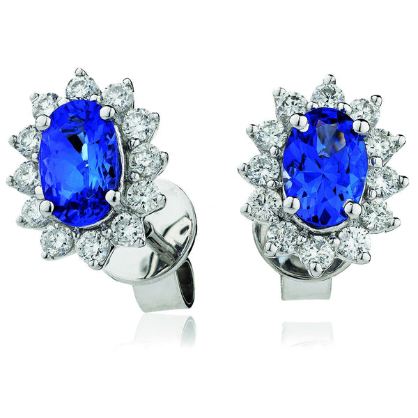 Diamond & Blue Sapphire Earring Set 1.60ct - 2.55ct - Hamilton & Lewis Jewellery