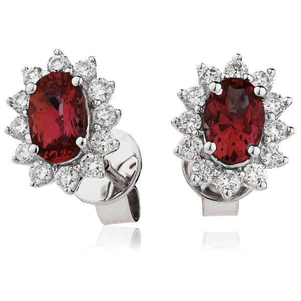 Diamond & Ruby Earring Set 1.60ct - 2.55ct - Hamilton & Lewis Jewellery