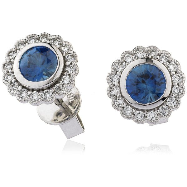 Diamond & Blue Sapphire Earrings 0.50ct - 1.45ct - Hamilton & Lewis Jewellery