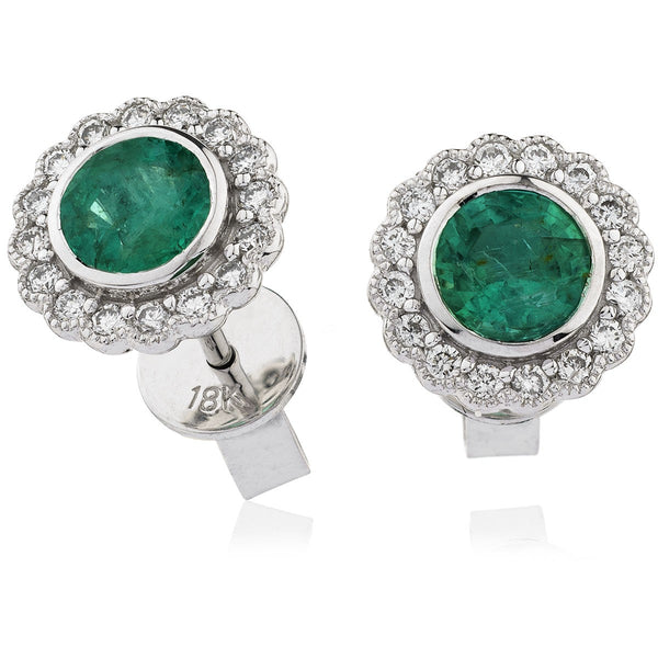 Diamond & Emerald Earrings 0.50ct - 1.30ct - Hamilton & Lewis Jewellery