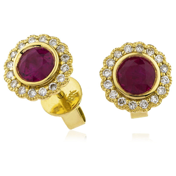 Diamond & Ruby Earrings 0.50ct - 1.50ct - Hamilton & Lewis Jewellery