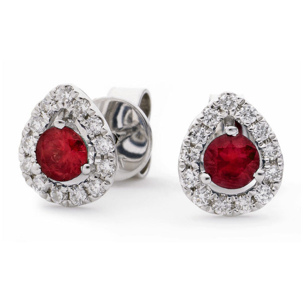 Diamond & Ruby Earrings 0.65ct - Hamilton & Lewis Jewellery