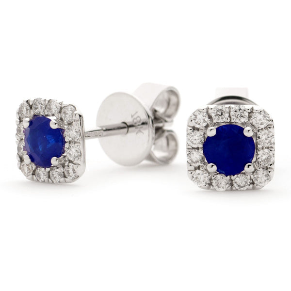 Diamond & Blue Sapphire Earrings 0.60ct - Hamilton & Lewis Jewellery