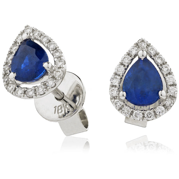 Diamond & Blue Sapphire Pear Shaped Earrings 0.85ct - Hamilton & Lewis Jewellery