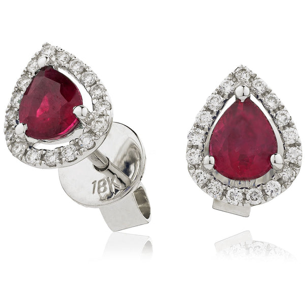 Diamond & Ruby Pear Shaped Earrings 1.00ct - Hamilton & Lewis Jewellery