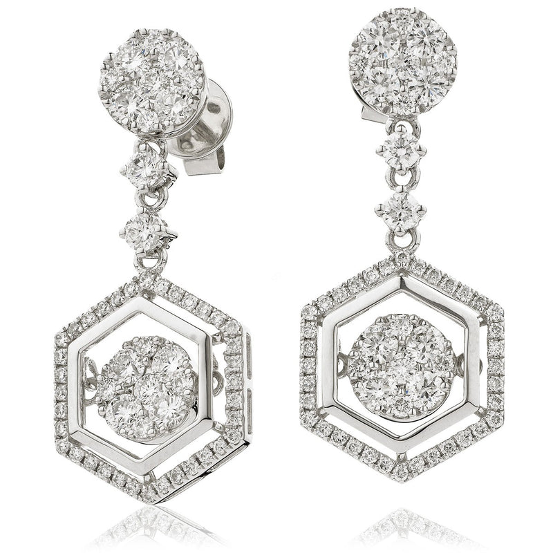 Diamond Movable Earring Set 1.80ct - Hamilton & Lewis Jewellery