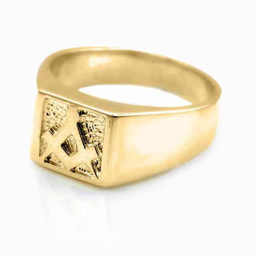 Solid 9ct Yellow Gold Masonic Signet Ring - Hamilton & Lewis Jewellery