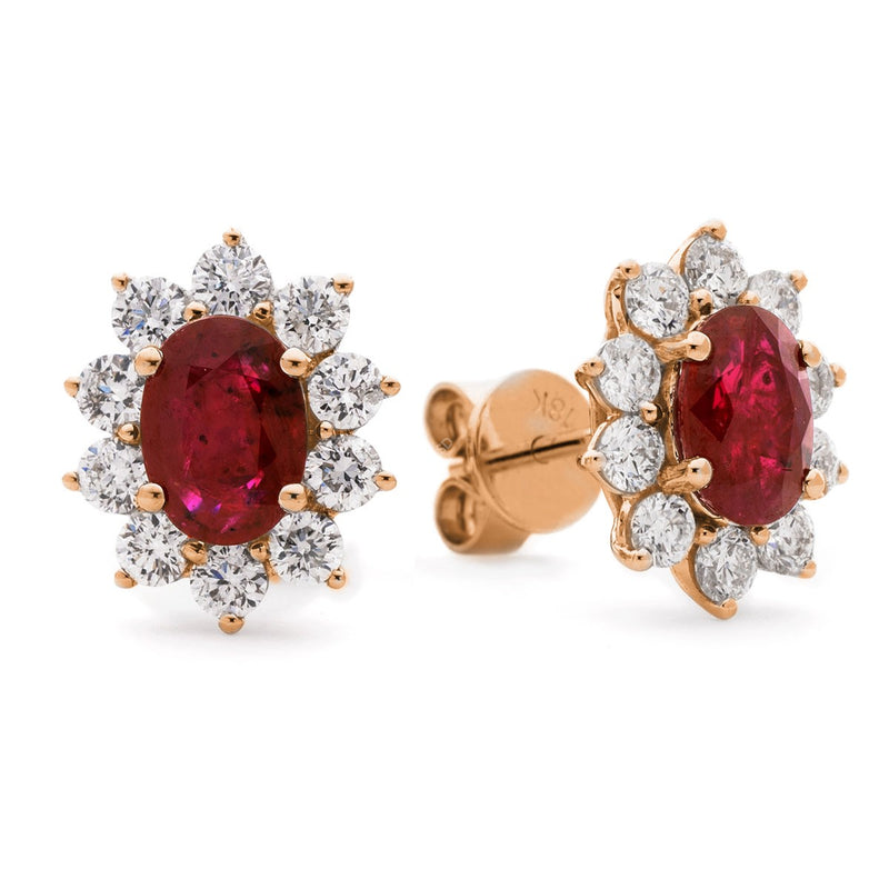 Diamond & Ruby Earring Set 1.60ct - 3.20ct - Hamilton & Lewis Jewellery