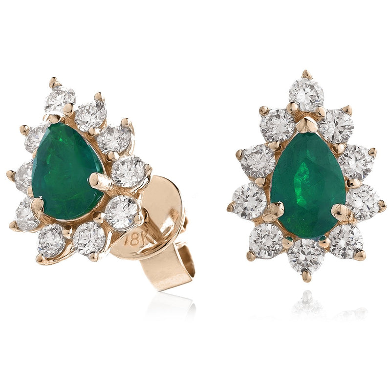 Diamond & Emerald Pear Shaped Earrings 1.20ct - Hamilton & Lewis Jewellery
