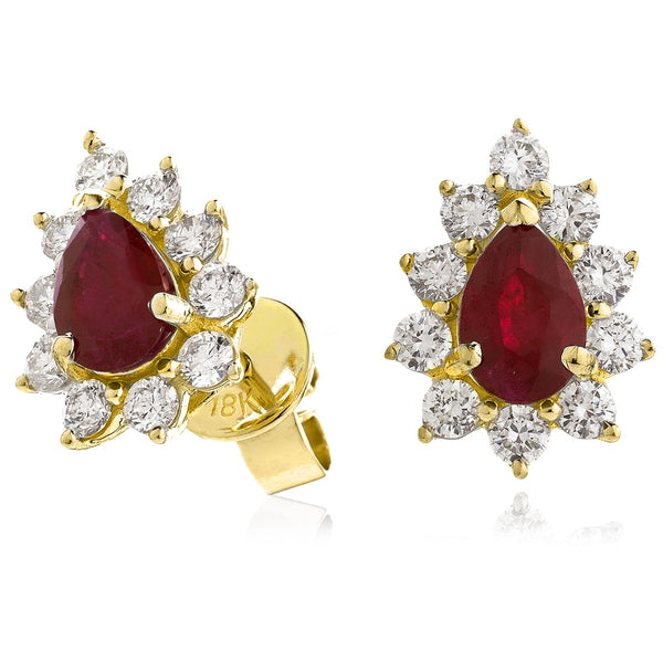 Diamond & Ruby Pear Shaped Earrings 1.30ct - Hamilton & Lewis Jewellery