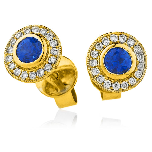 Diamond & Blue Sapphire Earrings 0.55ct - 1.55ct - Hamilton & Lewis Jewellery